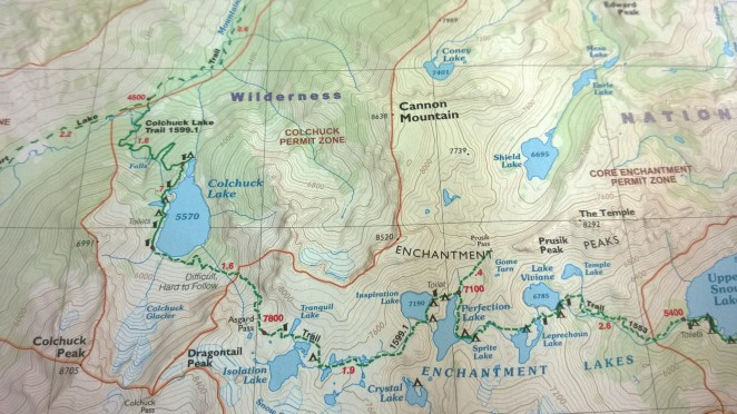 Map of Alpine Lakes area